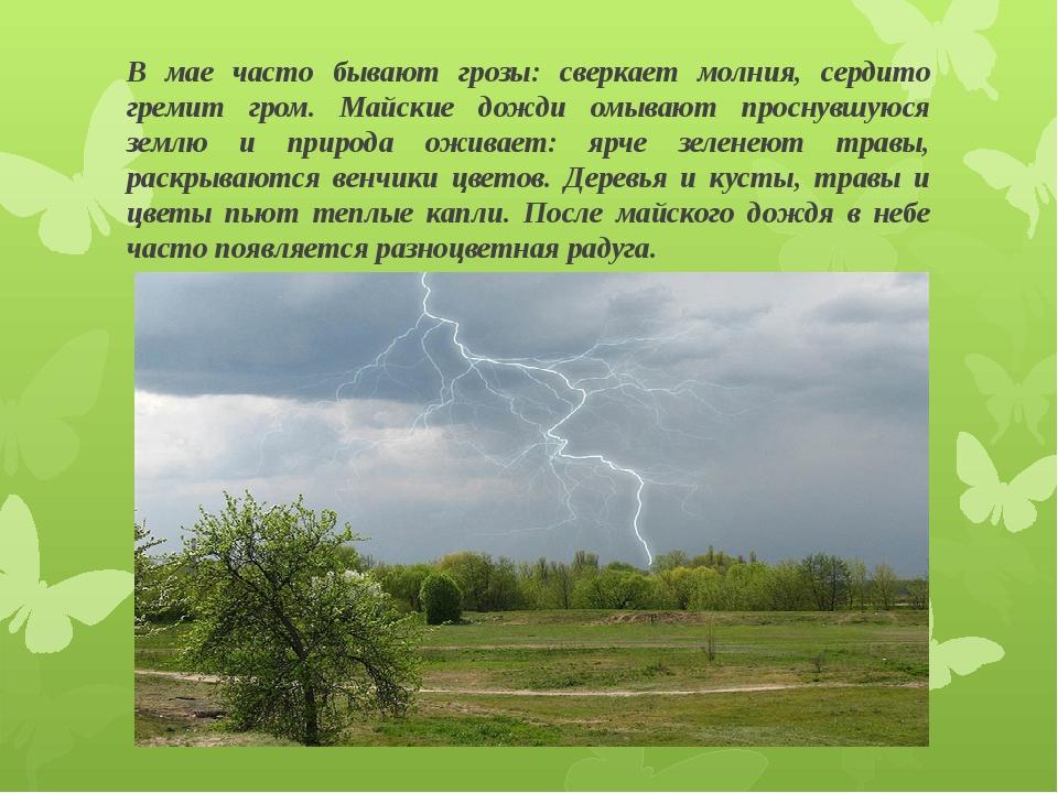В мае часто бывают грозы: сверкает молния, сердито гремит гром. Майские дожди...