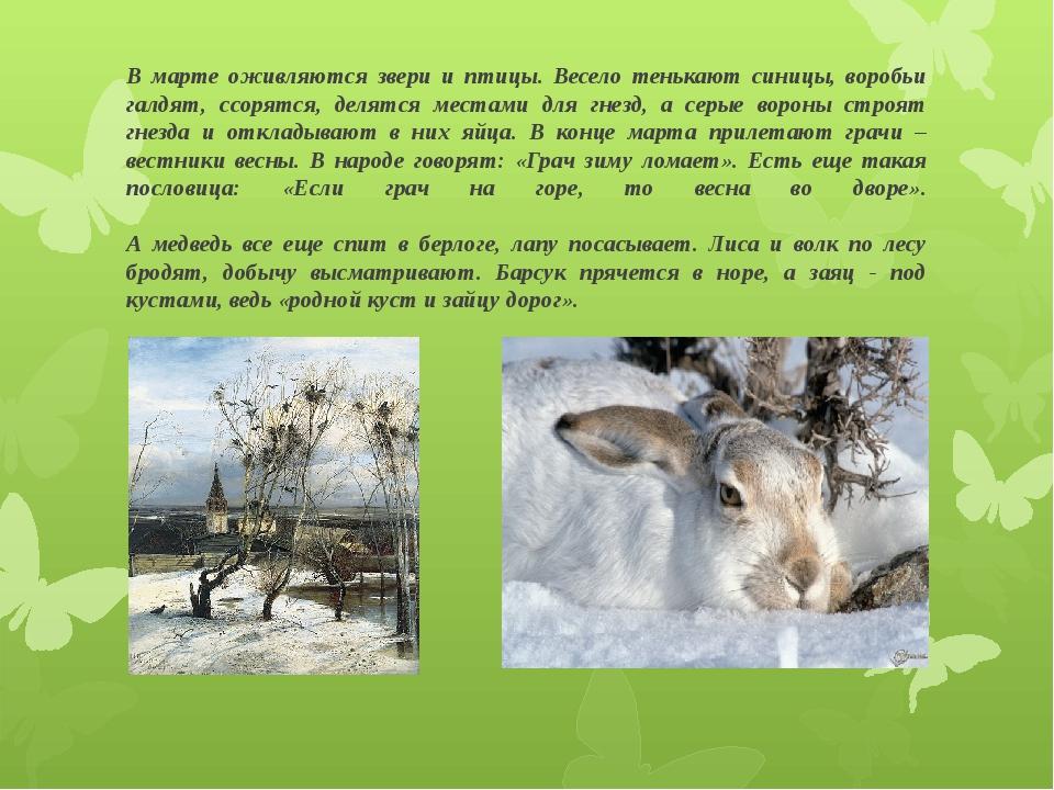 В марте оживляются звери и птицы. Весело тенькают синицы, воробьи галдят, ссо...