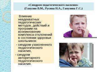 «Синдром педагогического насилия» (Ганузин В.М., Русина Н.А., Ганузина Г.С.)