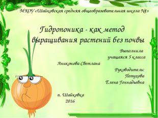 Гидропоника - как метод выращивания растений без почвы Выполнила учащаяся 5 к
