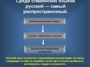 Среди славянских языков русский— самый распространенный. Русский язык относи