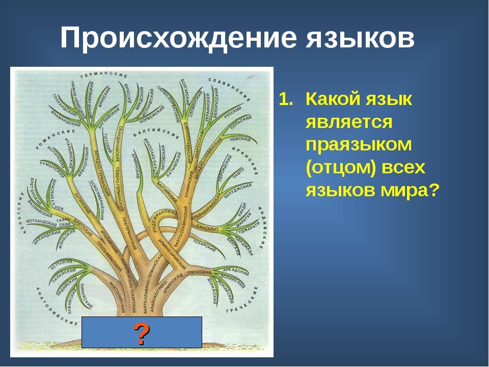 Происхождение языков Индоевропейский праязык Какой язык является праязыком (о...