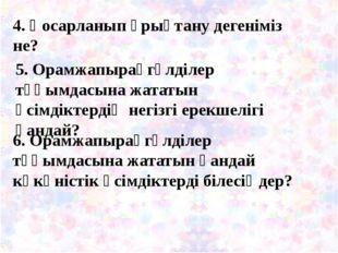 4. Қосарланып ұрықтану дегеніміз не? 5. Орамжапырақгүлділер тұқымдасына жата