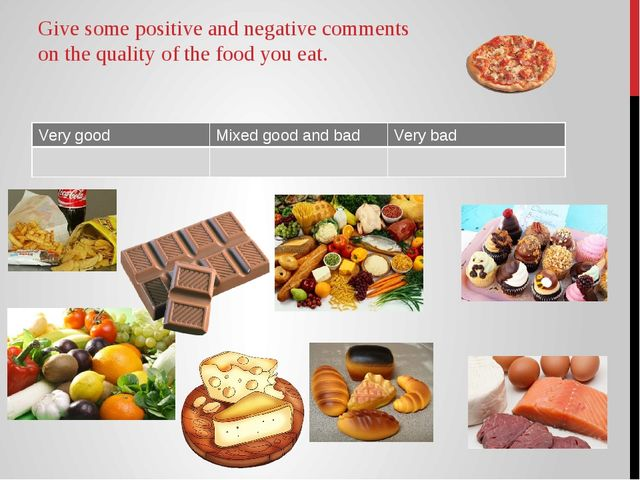 Give some positive and negative comments on the quality of the food you eat....