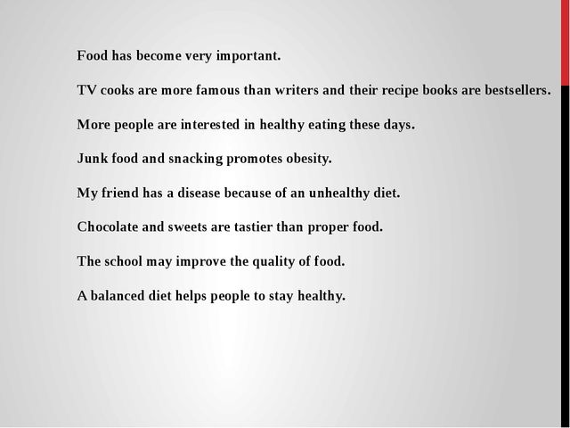 Food has become very important. TV cooks are more famous than writers and the...