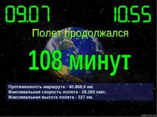 Протяженность маршрута - 40.868,6 км. Максимальная скорость полета - 28.260 к