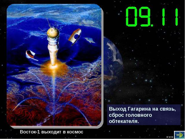 Выход Гагарина на связь, сброс головного обтекателя. Восток-1 выходит в космос