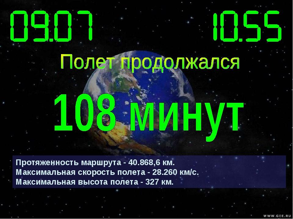 Протяженность маршрута - 40.868,6 км. Максимальная скорость полета - 28.260 к...