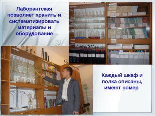 Лаборантская позволяет хранить и систематизировать материалы и оборудование К