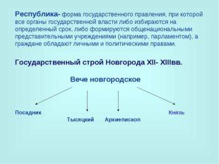 Республика-форма государственного правления, при которой все органы государс