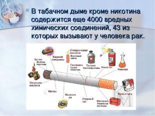 В табачном дыме кроме никотина содержится еще 4000 вредных химических соедине