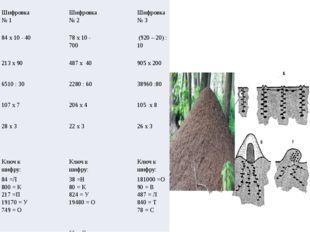 Шифровка № 1 Шифровка № 2 Шифровка № 3 84х10 - 40 78 х 10 - 700 (920 – 20) :
