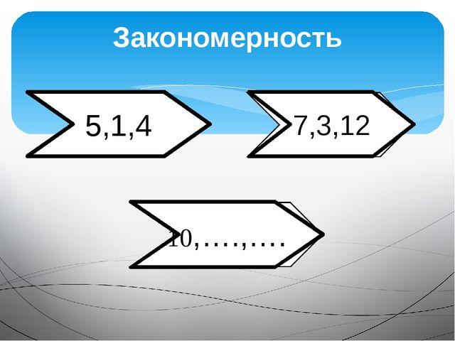 Закономерность 5,1,4 7,3,12 10,….,….