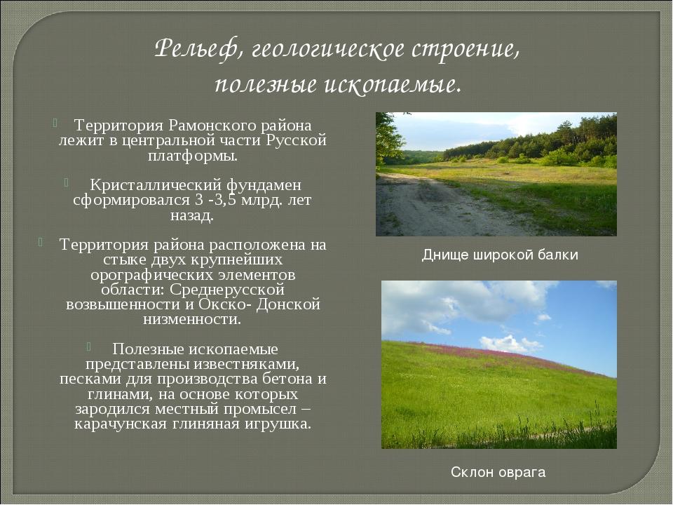 Территория Рамонского района лежит в центральной части Русской платформы. Кр...