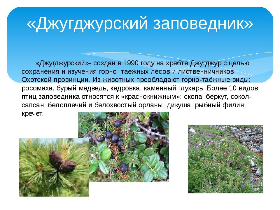 «Джугджурский заповедник» «Джугджурский»- создан в 1990 году на хребте Джугд...