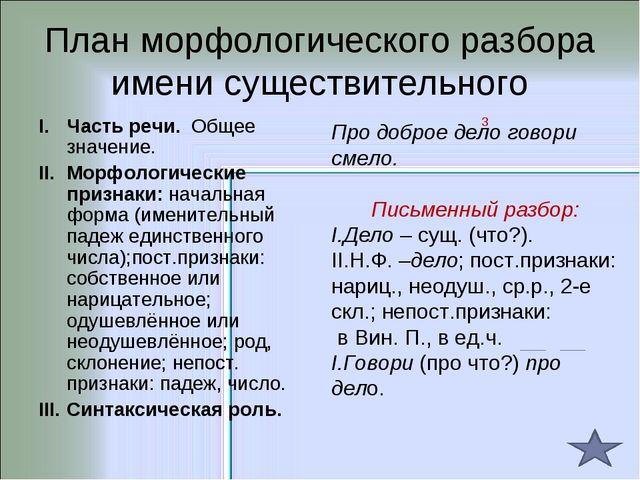 План морфологического разбора имени существительного Часть речи. Общее значен...
