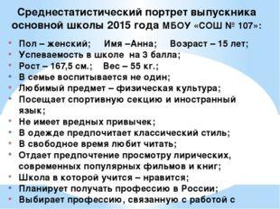 Среднестатистический портрет выпускника основной школы 2015 года МБОУ «СОШ №