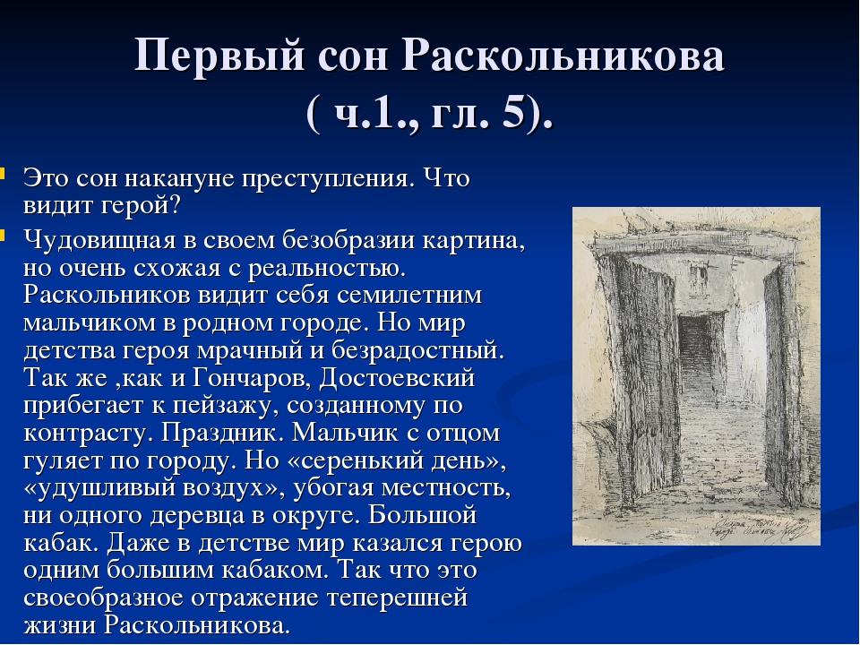 Первый сон Раскольникова ( ч.1., гл. 5). Это сон накануне преступления. Что в...