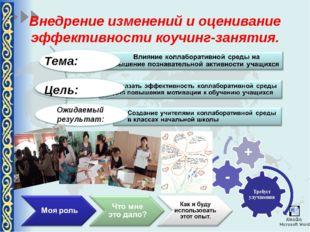 Внедрение изменений и оценивание эффективности коучинг-занятия. Тема: Цель: О
