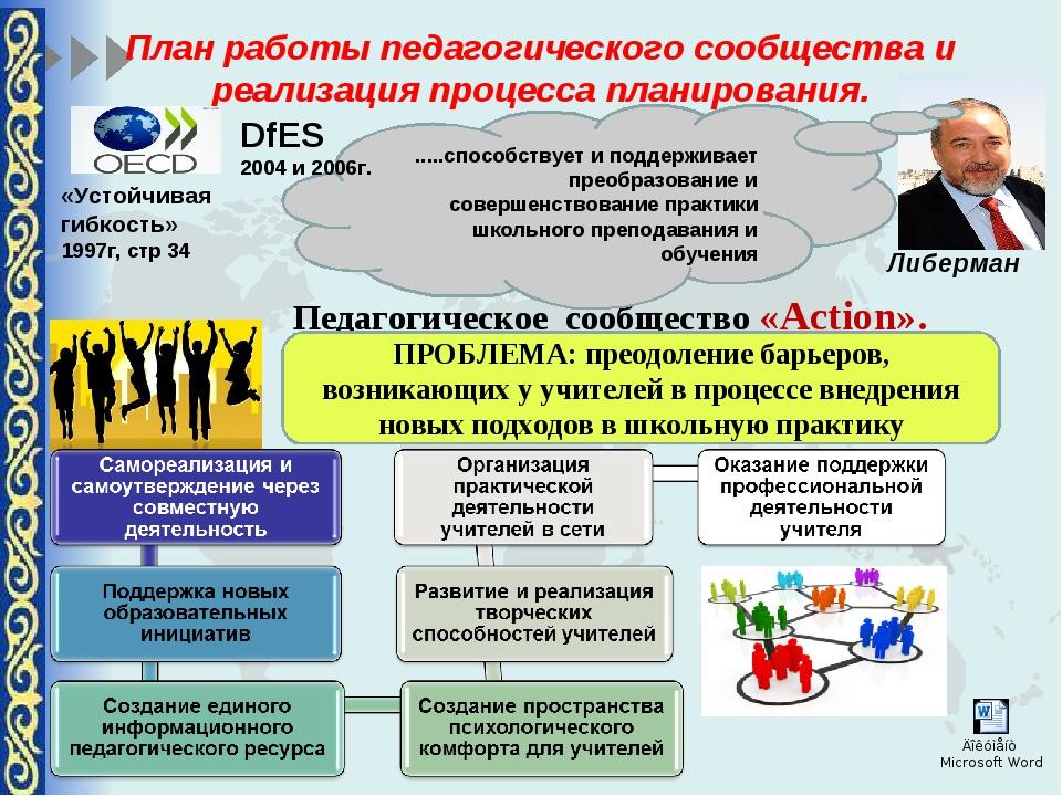 План работы педагогического сообщества и реализация процесса планирования. Пе...