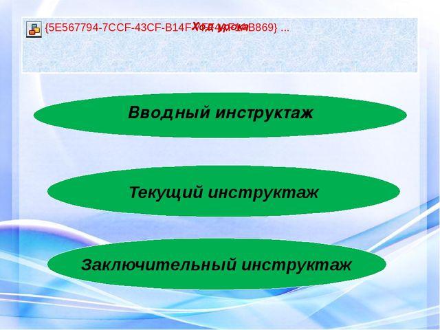 Вводный инструктаж Текущий инструктаж Заключительный инструктаж
