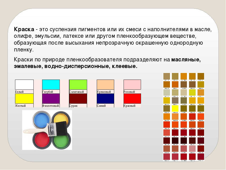 Краска - это суспензия пигментов или их смеси с наполнителями в масле, олифе,...