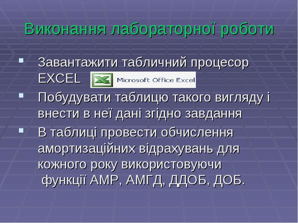 Виконання лабораторної роботи Завантажити табличний процесор EXCEL Побудувати...