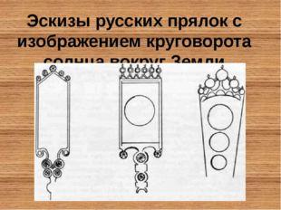 Эскизы русских прялок с изображением круговорота солнца вокруг Земли
