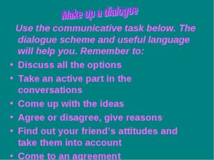 Use the communicative task below. The dialogue scheme and useful language wi