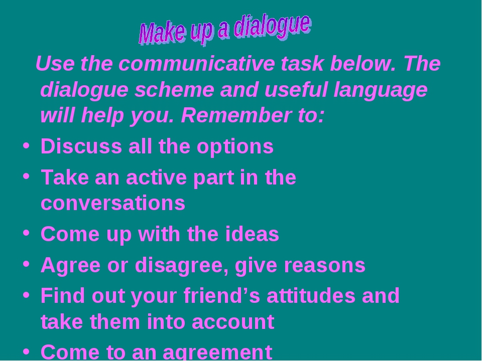 Use the communicative task below. The dialogue scheme and useful language wi...
