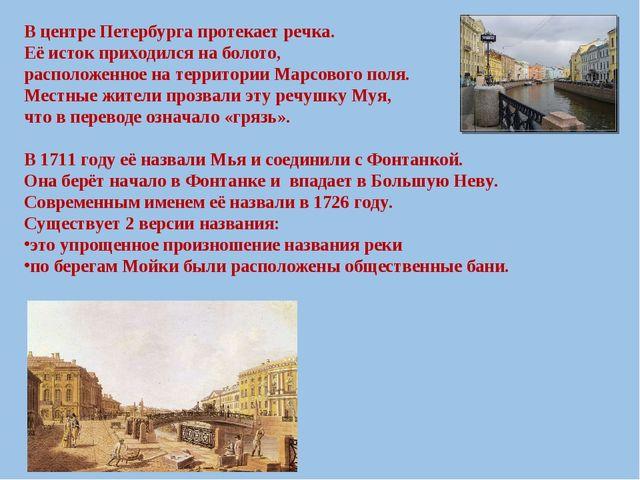 В центре Петербурга протекает речка. Её исток приходился на болото, расположе...