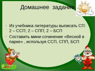 Домашнее задание Из учебника литературы выписать СП: 2 – ССП; 2 – СПП; 2 – БС