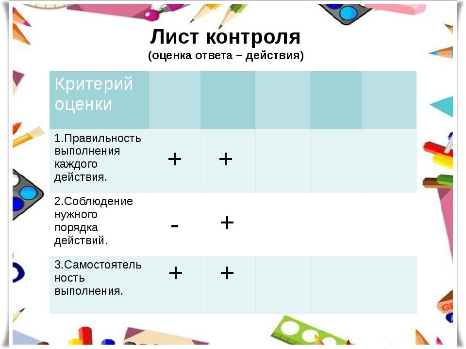 Лист контроля (оценка ответа – действия) Критерий оценки 1.Правильностьвыполн...