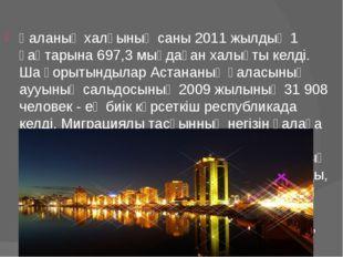 Қаланың халқының саны 2011 жылдың 1 қаңтарына 697,3 мыңдаған халықты келді. Ш
