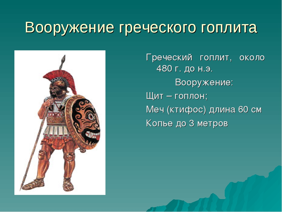 Вооружение греческого гоплита Греческий гоплит, около 480 г. до н.э. Вооружен...