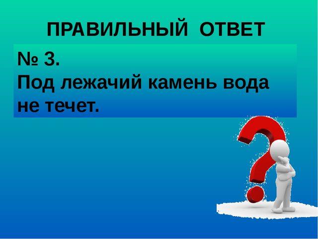 № 3. Под лежачий камень вода не течет. ПРАВИЛЬНЫЙ ОТВЕТ