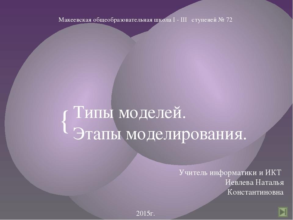 Типы моделей. Этапы моделирования. Учитель информатики и ИКТ Иевлева Наталья...