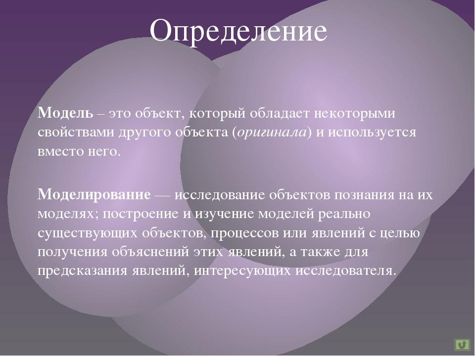 Модель – это объект, который обладает некоторыми свойствами другого объекта (...
