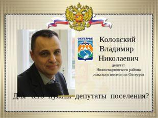 Для чего нужны депутаты поселения? Коловский Владимир Николаевич депутат Нижн