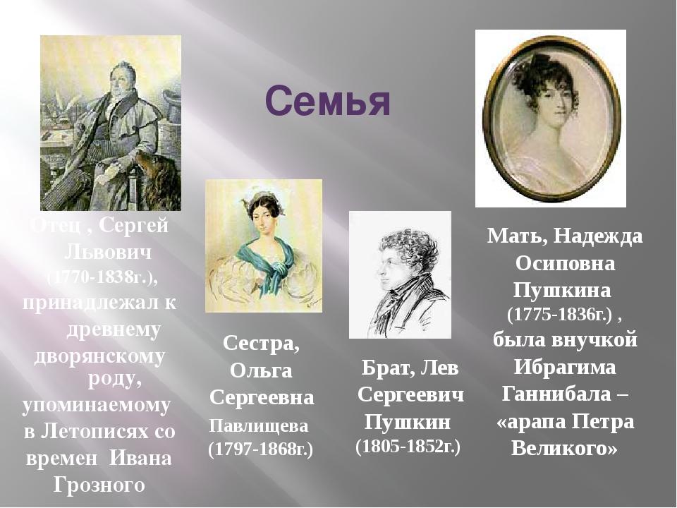 Семья Отец , Сергей Львович (1770-1838г.), принадлежал к древнему дворянском...