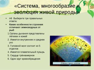 «Система, многообразие и эволюция живой природы» А6 Выберите три правильных о