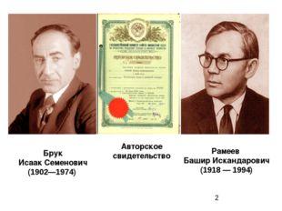 Рамеев БаширИскандарович (1918 — 1994) Брук Исаак Семенович (1902—1974) А