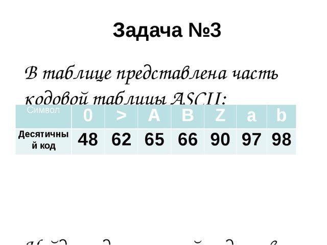 Задача №3 В таблице представлена часть кодовой таблицы ASCII: Найдите десятич...