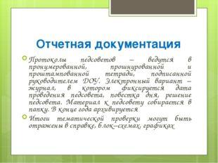 Отчетная документация Протоколы педсоветов – ведутся в пронумерованной, прошн