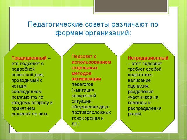 Педагогические советы различают по формам организаций: Традиционный – это пед...