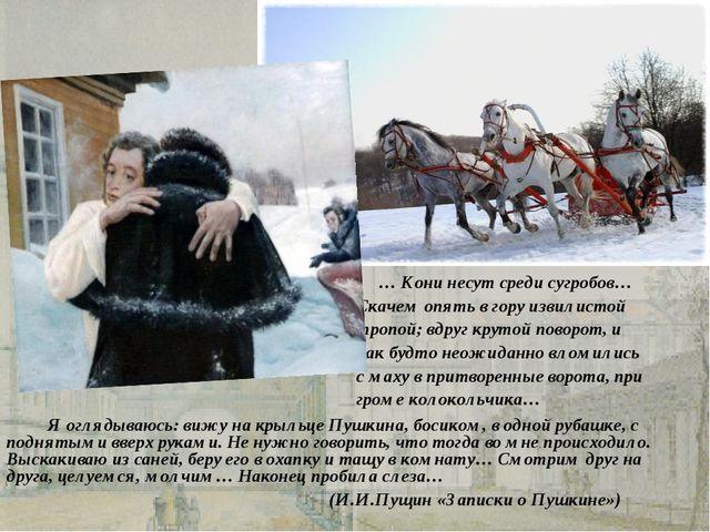 Я оглядываюсь: вижу на крыльце Пушкина, босиком, в одной рубашке, с поднятым...