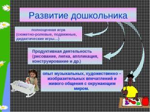 Развитие дошкольника полноценная игра (сюжетно-ролевые, подвижные, дидактичес