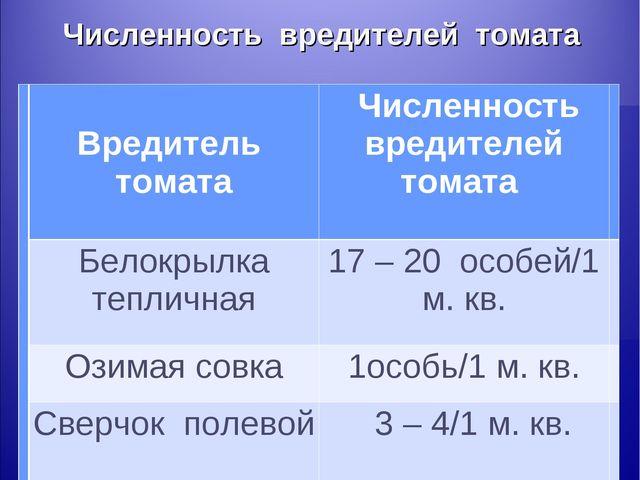 Численность вредителей томата  Вредитель томата Численность вредителей тома...