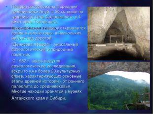 Пещера расположена в среднем течении реки Ануй, в 50 км выше по течению от се