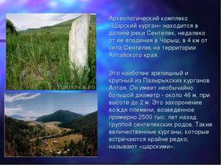 Археологический комплекс «Царский курган» находится в долине реки Сентелек, н